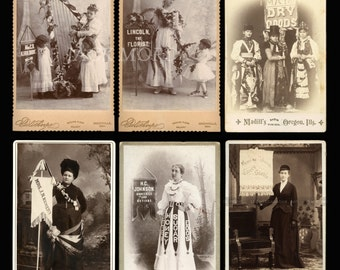 Rare Banner / Advertising Lady Collection ~ SIX Original Cabinet Cards