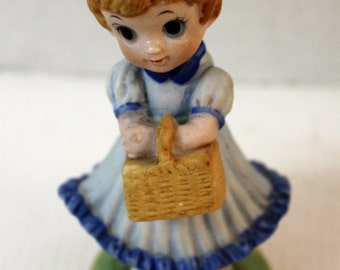 love is a picnic porcelain figurine girl taiwan 1980's vintage collectible