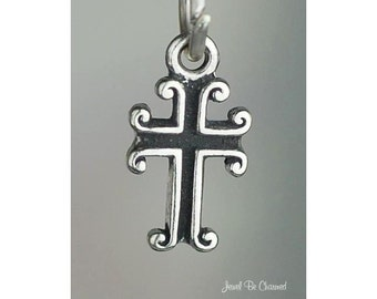 Sterling Silver Miniature Scrolled Cross Charm Christian Solid .925