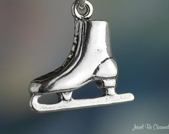 Ice Skate Charm Sterling Silver Skating Figure Skaters 3D Solid .925