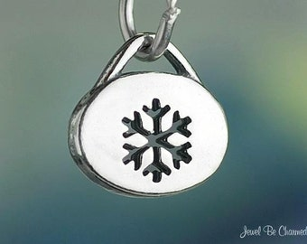 Small Sterling Silver Snowflake Cutout Charm Winter Snow Solid .925
