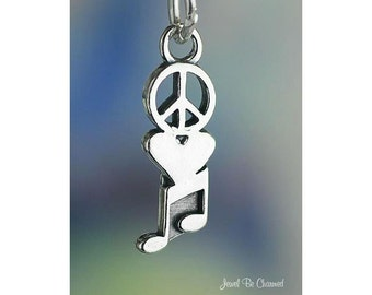 Peace Love Music Charm Sterling Silver Sign Heart Notes Solid .925