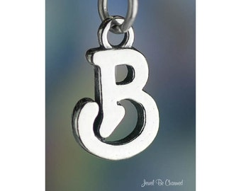 Sterling Silver Script Letter B Charm Initial Cursive Shiny Solid .925