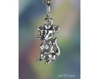Small Mouse Charm Sterling Silver Little Rodent Mice Tiny Solid .925