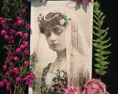 Edwardian Antique Photo Postcard- Beautiful Woman  - Pink Roses - Veil - Paul Boyer