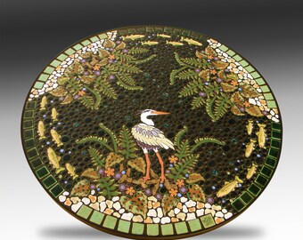 "38"" round, Heron and trout garden mosaic tile table. Handmade ceramic fern fish mosaic art tiles."