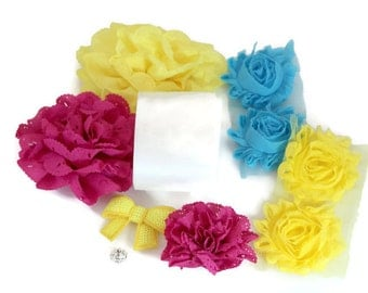 Maternity Sash Kit - Fuscia Yellow & Turquoise - Gender Reveal Party - Maternity Photo Shoot - Carribbean Wedding - Tropical Baby Shower