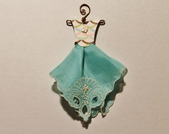 Petite Vintage Hanky Dress teal blue hanky with patterned bodice