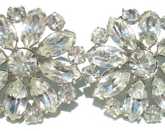 Formal Rhinestone Screw Back Earrings with Flower Design of Marquise Rhinestones on Silver Tone - Vintage Jewelry