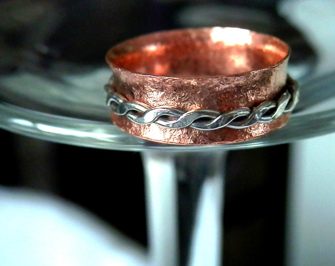Spinner Ring, Unisex Ring, Thumb Ring, Wide Ring, Copper Ring, Silver Ring,Braid Ring, Handmade Jewelry, Gift Idea