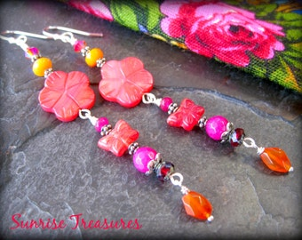 Coral Pink Carved Shell Flower Earrings, Butterfly Earrings, Orange Carnelian Earrings, Red/Hot Pink/Golden Yellow, Nature Jewelry