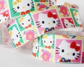 CLEARANCE SALE* FREE Shipping~ 2 yards x  Grosgrain Ribbon 25mm Hello Kitty Grosgrain Ribbon, Ribbon, Hair Bow Ribbon,Sewing Ribbon