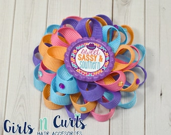 Boutique Style Loopy Flower Girls Hairbow Sweet Sassy and Southern