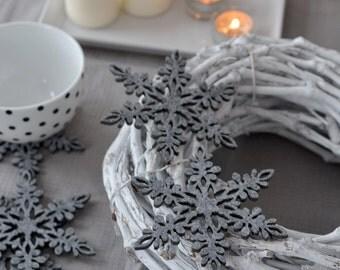Felt coasters snowflakes shape FS3, six elements