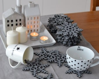 Felt coasters snowflakes shape FS4, four elements