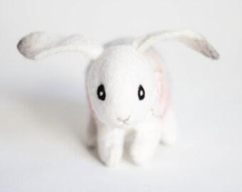 Little Felt Bunny - Paisley. Art Toy Handmade Felted Hare Stuffed gift kids baby shower gift nursery decor white pink. SPECIAL ORDER for Ada
