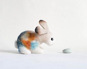 Felt Bunny - Ada. Art Toy. Handmade Felted Rabbit Stuffed Nursery decor Stuffed plush animal gift kids children. SPECIAL ORDER for Ada
