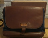 GENTLY USED - The Messenger Bag - Navy/Chocolate