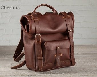 The Rolltop Leather Backpack - Chestnut
