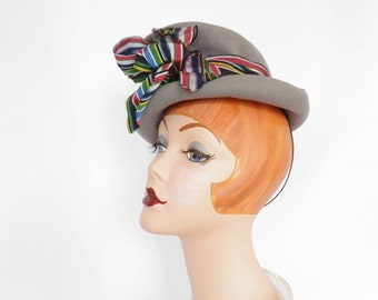 Vintage 1930s hat, tilt gray, percher