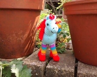 Hippolyta the Blue Rainbow Horse Crochet soft toy