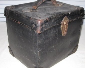vintage Metal Storage Box with Leather Handle