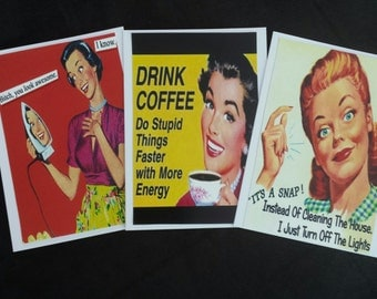 Humorous 1950's style Card Trio, Housewife, not PC,  sassy comment cards
