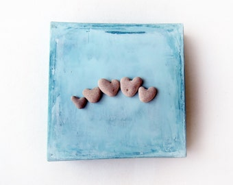 Gift for Family, For Mom, Unique Gift, Christmas Gift Unique, Unique Love Gift, MedBeachStones, Heart Rocks Canvas, Heart shaped Beach stone