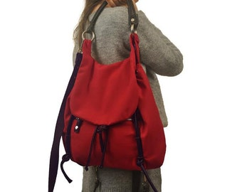 Handmade shoulder bag,  backpack, red  canvas with brown leather details,named Daphne MADE TO ORDER