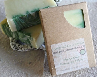 Natural Soap, Olive Oil Soap, Coconut Lime Verbena, 4.5 oz., made with organic oils  by Green Bubble Gorgeous on etsy
