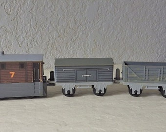 Rare, Toby the Tank Engine with two cars, Foolish Freight Car and Troublesome Truck, Made by Nylint, 1992