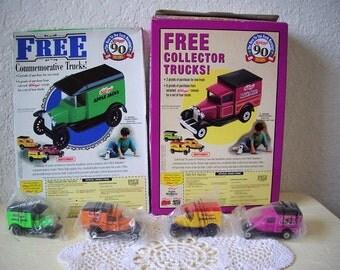 Kelloggs Cereal Premium Collectible Toy Trucks, unused in original cereal box. 1996.