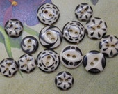 14 Antique China Black Stencil Buttons Mixed Lot #3