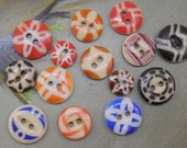 14 Antique China Stencil Buttons Mixed Lot #5