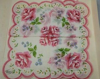 BURMEL ORIGINAL Pink Rose Print Handkerchief  w/ Scalloped Edge Un-Used Original Label in Gift Envelope