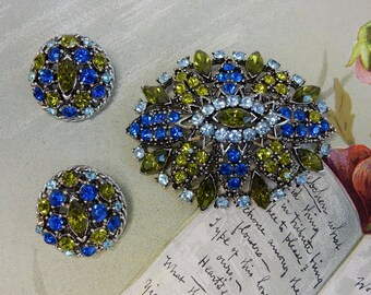 Blue & Green Rhinestone Oval Brooch and Earrings Set