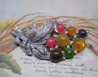 1930's Colorful Moonglow Cabochon & Rhinestone Bouquet Brooch    HCJ32
