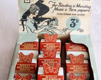 Art Deco Display Box of Tape for Binding and Mending Sheet Music Paper and Books ~ Rare