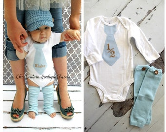 NEW Baby Boy 1/2 Half Birthday Outfit. Blue Herringbone Personalized Tie Bodysuit & Wood Button Leg Warmers SET Photo Prop Cake Smash Outfit