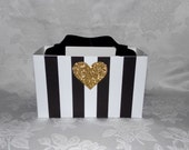 Large Black and White Stripe Gift Bag with Gold Glitter Heart
