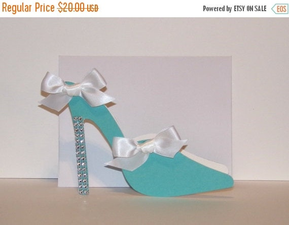 15% OFF 5 Blue Mule High Heel Shoe Blank Card with White Bows