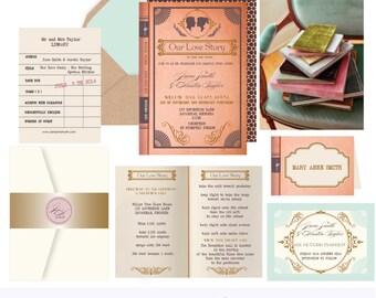 Literature Book .Library Book wedding Invitation suite.Sample .