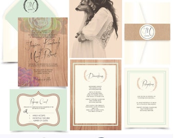 Woodland Dreamer Invitation suite. Succulents Nature Wood I.nvitation Sample .Printing service available