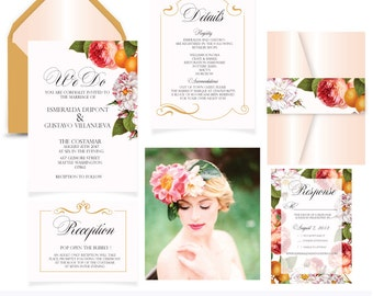 Noelia's Garden. Botanical Floral Invitation Suite.Printable PDF .Printing service available.