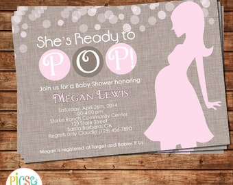 She's Ready to Pop! Baby shower invitation in pink and brown- Silhouette of a Pregnant Woman