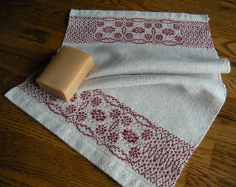 Woven Guest Towel, Hand Woven Hand Towel, Finger Tip Towel, Handwoven Tea Towel, Beige and Burgundy,  Guest Towel, Towel, Hostess Gift