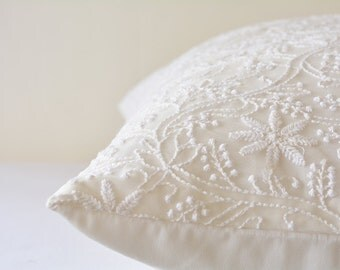 Beautiful White on White Embroidered Pillow Cover, Delicate White Embroidered Cushion Cover, White Embroidered Bedroom Pillow , White Decor