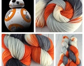 """Dyed To Order- """"BB-8"""", Star Wars Inspired, Hand Dyed, SW Merino Wool Yarn, Knitting, Crochet, Sock, Worsted, DK, Sport"""