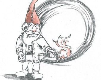 Gnome With Torch Sketch-A-Day
