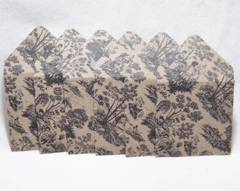 Black Toile Designed Envelopes, Black Toile Paper, Mini Envelopes, Mini Note Cards, Black and Tan Mini Envelopes